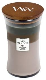 Aromatická svíčka váza, WoodWick Trilogy Cozy Cabin, hoření až 120 hod