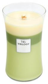 Aromatická svíčka váza, WoodWick Trilogy Garden Oasis, hoření až 120 hod