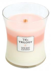 Aromatická svíčka váza, WoodWick Trilogy Island Getaway, hoření až 65 hod