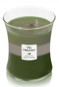 Aromatická svíčka váza, WoodWick Trilogy Mountain Trail, hoření až 65 hod