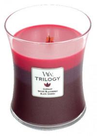 Aromatická svíčka váza, WoodWick Trilogy Sun Ripened Berries, hoření až 65 hod
