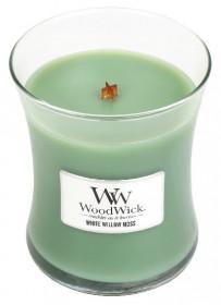 Aromatická svíčka váza, WoodWick White Willow Moss, hoření až 65 hod