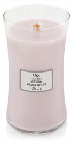 Aromatická svíčka váza, WoodWick Wild Violet, hoření až 120 hod
