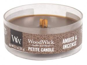 Aromatická svíčka, WoodWick Petite Amber & Incense, hoření až 8 hod