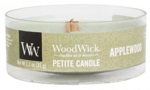 Aromatická svíčka, WoodWick Petite Applewood, hoření až 8 hod