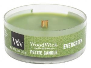 Aromatická svíčka, WoodWick Petite Evergreen, hoření až 8 hod