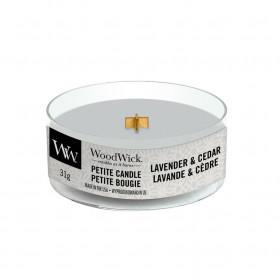 Aromatická svíčka, WoodWick Petite Lavender & Cedar, hoření až 8 hod