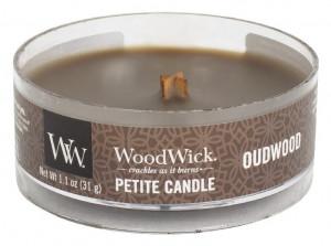 Aromatická svíčka, WoodWick Petite Oudwood, hoření až 8 hod