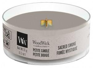 Aromatická svíčka, WoodWick Petite Sacred Smoke, hoření až 8 hod