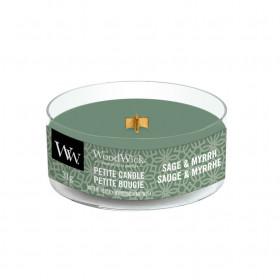 Aromatická svíčka, WoodWick Petite Sage & Myrth, hoření až 8 hod