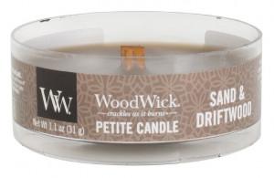 Aromatická svíčka, WoodWick Petite Sand & Driftwood, hoření až 8 hod