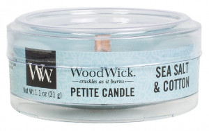 Aromatická svíčka, WoodWick Petite Sea Salt & Cotton, hoření až 8 hod