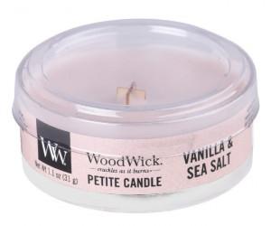 Aromatická svíčka, WoodWick Petite Sea Salt Vanilla, hoření až 8 hod