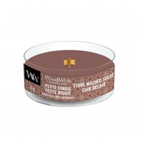 Aromatická svíčka, WoodWick Petite Stone Washed Suede, hoření až 8 hod