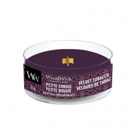 Aromatická svíčka, WoodWick Petite Velvet Tobacco, hoření až 8 hod