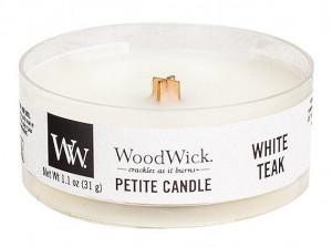 Aromatická svíčka, WoodWick Petite White Teak, hoření až 8 hod