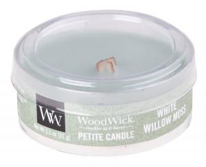 Aromatická svíčka, WoodWick Petite White Willow Moss, hoření až 8 hod