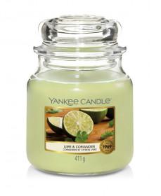 Aromatická svíčka, Yankee Candle Lime & Coriander, hoření až 75 hod