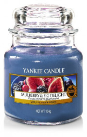 Aromatická svíčka, Yankee Candle Mulberry & Fig Delight, hoření až 30 hod