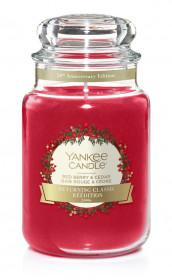 Aromatická svíčka, Yankee Candle Red Berry & Cedar, hoření až 150 hod