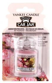 Aromatická visačka do auta, Yankee Candle Fresh Cut Roses, gelová, provonění až 4 týdny