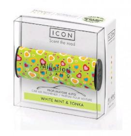 Aromatický set do auta, Millefiori Cuori & Fiori, White Mint & Tonka, provonění 8 týdnů