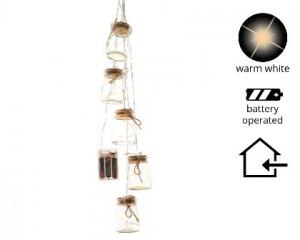 Baňky, závěs, svíticí, 15LED, teplá bílá, na baterii, čirá, 5 ks, délka 70cm
