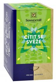 BIO bylinný čaj, Sonnentor Štěstí je - Cítit se svěže, porcovaný, 18 sáčků
