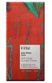 BIO hořká čokoláda s chilli 70%, Vivani, 100 g
