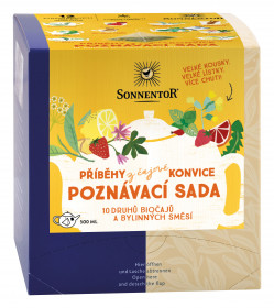 BIO poznávací sada bylinných a ovocných čajů, Sonnentor Příběhy z čajové konvice, 12 pyramid. sáčků