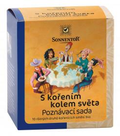 BIO poznávací sada kořenících směsí, Sonnentor S kořením kolem světa, krabička, 10 sáčků, 50 g