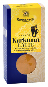 BIO směs koření pro přípravu nápoje, Sonnentor Kurkuma Latte Zázvor - Zlaté mléko, krabička, 60 g