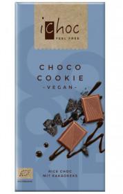 BIO vegan čokoláda s kousky sušenek, iChoc Choco cookie, 80 g