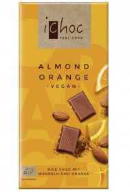 BIO vegan čokoláda s pomerančem a mandlemi, iChoc Almond Orange, 80 g