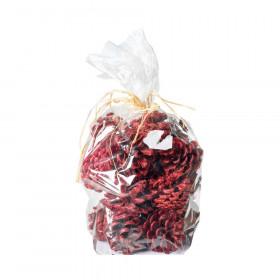 Borovicové šišky, s glitry, balení 200g, červená