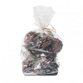 Borovicové šišky, s glitry, balení 200g, hnědá