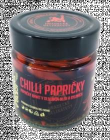 Chilli papričky Rawit v olivovém oleji a bylinkách, Hradecké delikatesy, 180 g