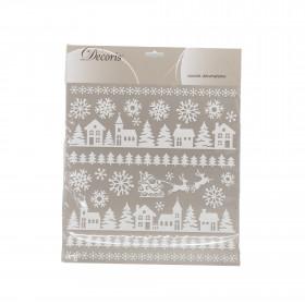 Dekorace na zeď, samolepící, vánoční motiv, s glitry, 31x38cm, duhová