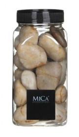 Dekorační kameny v dóze, Mica, 650 ml, velikost 25 - 30 mm, béžové