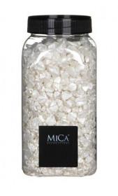 Dekorační kameny v dóze, Mica, 650 ml, velikost 5 - 10 mm, bílé
