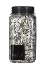 Dekorační kameny v dóze, Mica, 650 ml, velikost 5 - 10 mm, světle šedé