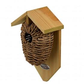 Drátěná budka pro ptáky, Esschert Design, dřevo a vodní hyacint, zeleno - hnědá