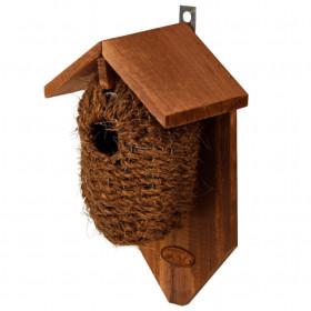 Drátěná ptačí budka, Esschert Design, dřevo a kokosové vlákno, hnědá