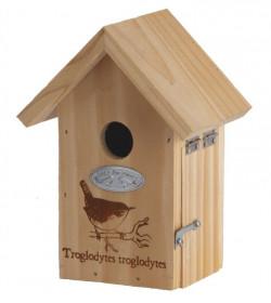 Dřevěná ptačí budka, Esschert Design Dekor pták střízlík, přírodní
