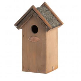 Dřevěná ptačí budka pro střízlíka obecného, Esschert Design Antik, stříška z živice, přírodní