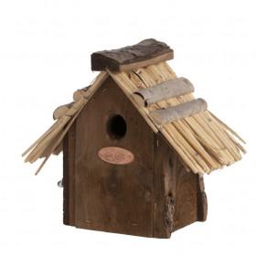 Dřevěná ptačí budka pro střízlíka obecného, Esschert Design, slaměná střecha, přírodní