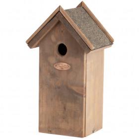 Dřevěná ptačí budka pro sýkoru koňadru, Esschert Design Antik, stříška z živice, přírodní