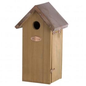 Dřevěná ptačí budka pro sýkoru koňadru, Esschert Design, měděná střecha, přírodní