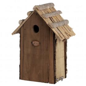 Dřevěná ptačí budka pro sýkoru koňadru, Esschert Design, slaměná střecha, přírodní
