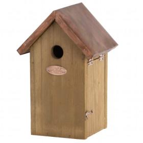 Dřevěná ptačí budka pro sýkoru modřinku, Esschert Design, měděná střecha, přírodní